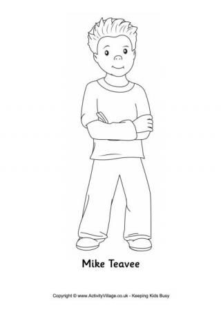 Mike teavee colouring page kindergarden projects for Charlie and the chocolate factory coloring pages