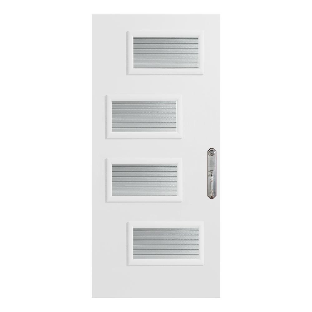 Retro Collection 34 Oval Prefinished White Steel Entry Door