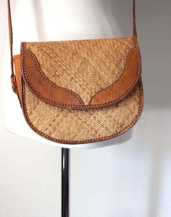 Vintage 80s Handbag Woven Straw And Leather Bali Bag Crossbody