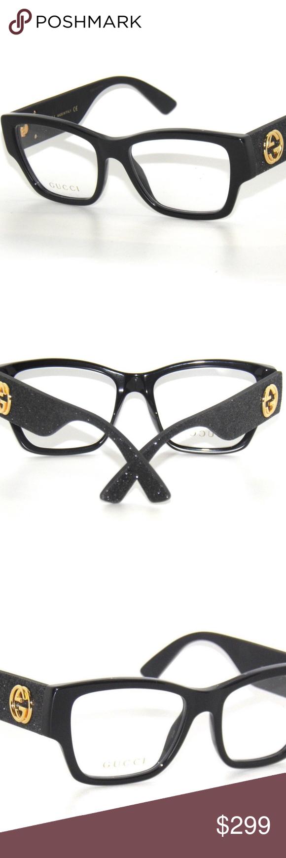 91be6821203 GUCCI GG0104O BLACK GLITTER 001 EYEglaSSeS AUTHENTIC AND BRAND NEW GUCCI  GG0104O BLACK GLITTER 001 EYEglaSSeS GUCCI Accessories Glasses
