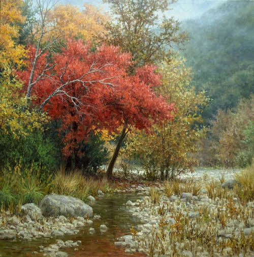 Realistic Landscape Oil Paintings Realistic Autumn Painting Of Red Maple Tree Painting Paintingarts A Oil Painting Landscape Landscape Art Autumn Painting