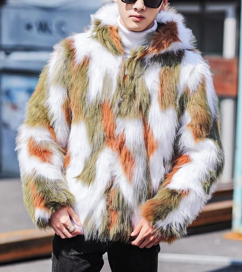 523b63a70303d Green White Brown Camo Men Fur Jacket with Hoodie – FanFreakz