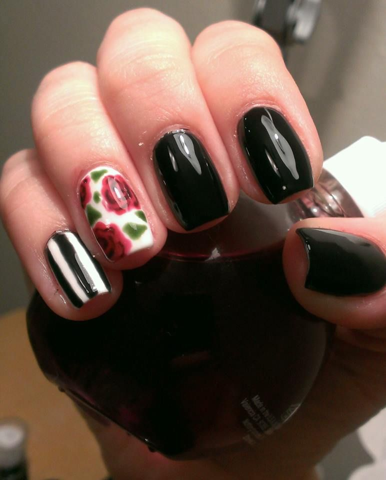 So romantic! Stacey Barber designed this cool Roses and Stripes nail ...