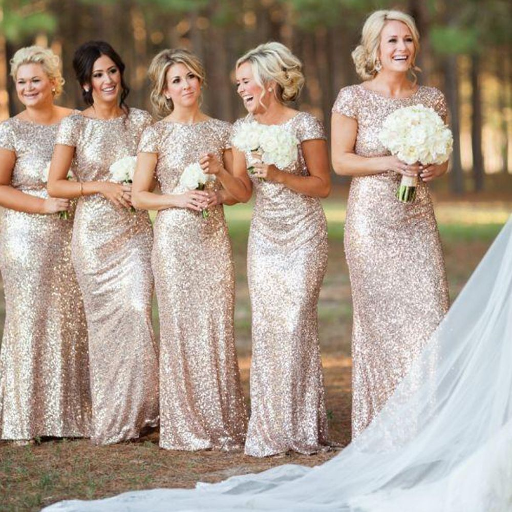 Wedding dresses sparkly  Sparkly Gold Sequins Long Bridesmaid Dresses  Cheap Bridesmaid
