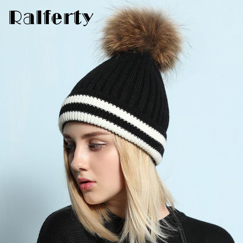 ralferty 2018 casual hats for women real raccoon fur pom