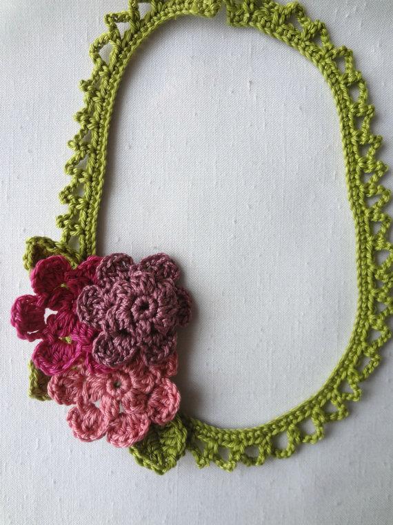 Crochet Pdf Pattern Springflower Necklace Crochted By Sewella