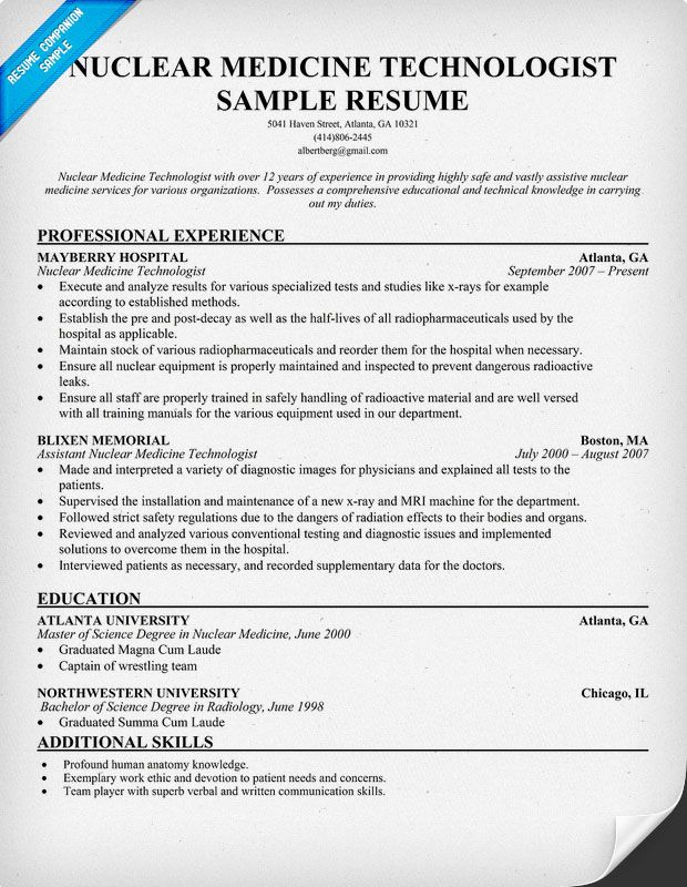 Nuclear Medicine Technologist Resume + Free Resume  (http://resumecompanion.com) · Free ResumeRad TechResume ...  Rad Tech Resume