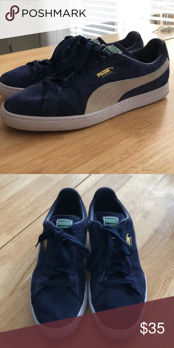 6970d3e60b Puma Men s Suede Core Classic + Navy White Sneaker Puma Men s Suede Core  Classic + Sneaker Color  Peacoat (Navy)   White Size  11 Looking to clear  out my ...