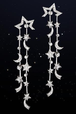 Chanel Comète 18k White Gold And Diamond Drop Earrings