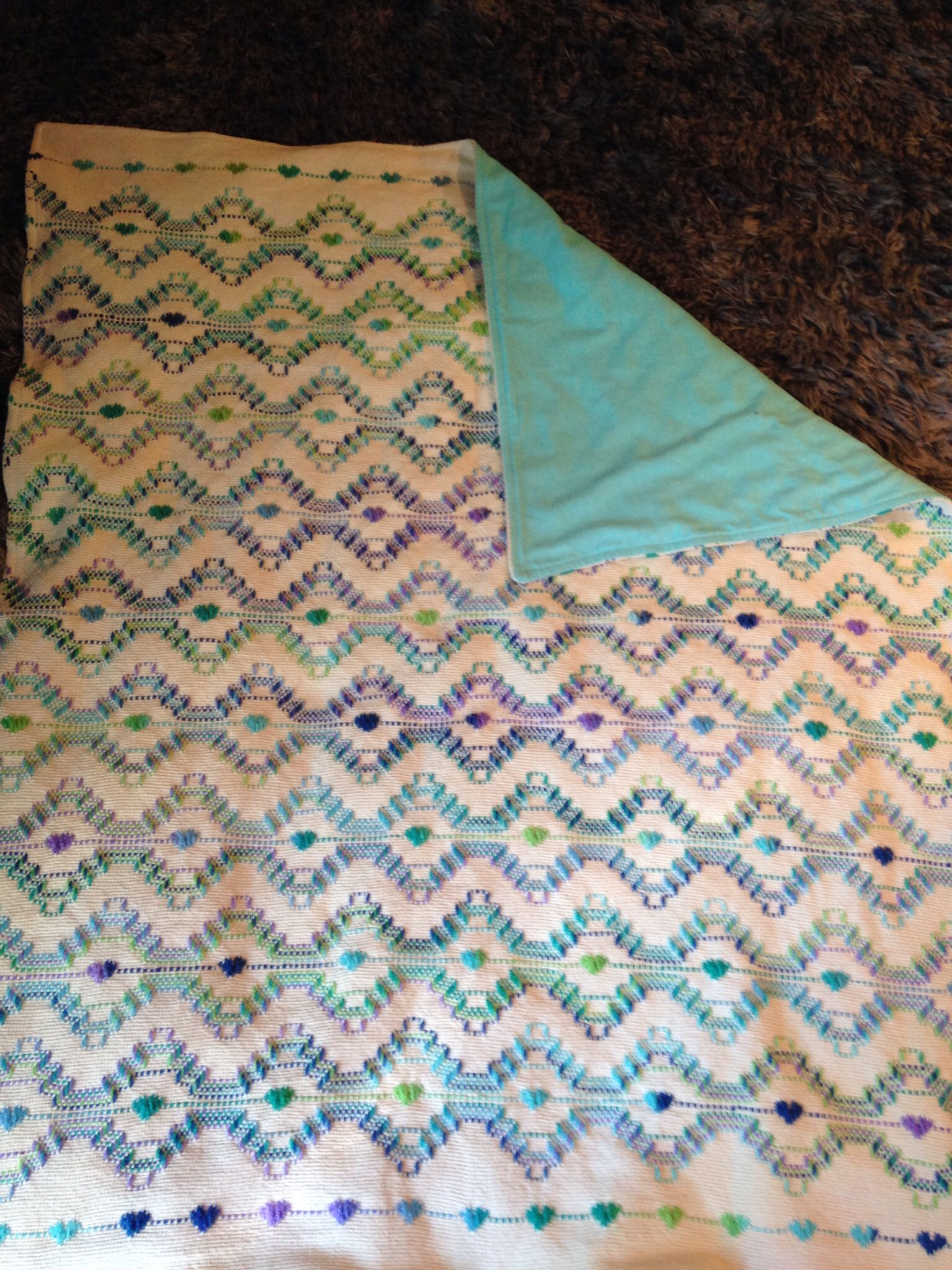 Baby Blanket With Flannel Backing Broderies Suedoises