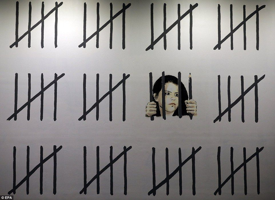 The Mural Features Prison Tally Marks Depicting The Time She Has Already Spent In Jail Fe Banksy Mural Banksy Prison Art