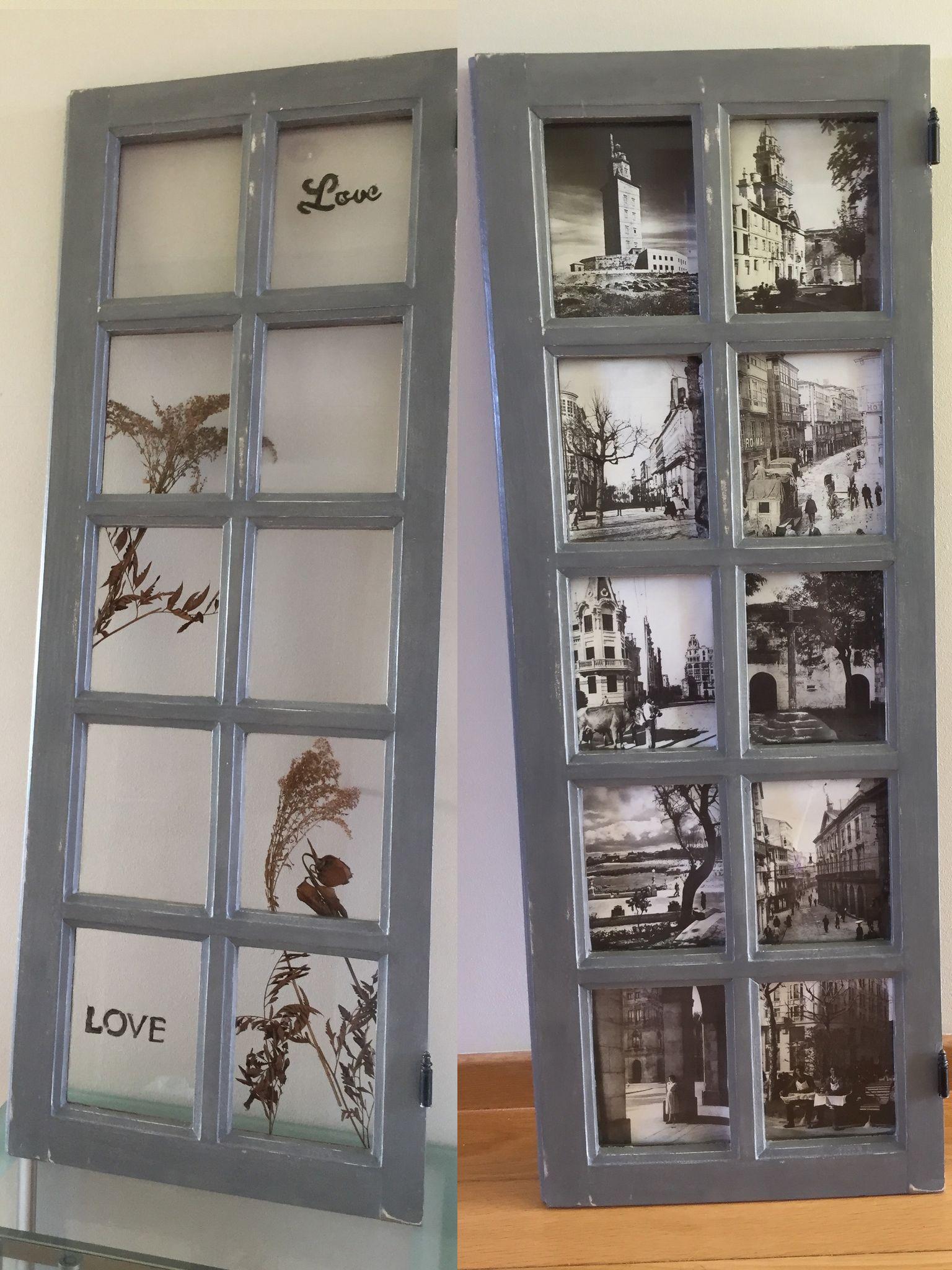 Ventana antigua de madera maciza. Recuperada como marco para fotos u ...