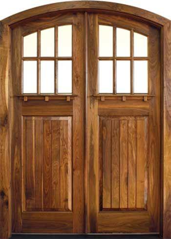 Arch Top Craftsman Style Double Wood Doors Mahogany Chery Oak Or Walnut