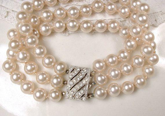 2ab8ce94a3 Art Deco Multi Strand Pearl Bracelet Ornate Rhinestone Clasp, Glass ...
