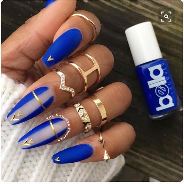 Blue And White Coffin Nails Vacationnails Nails Nails Nail