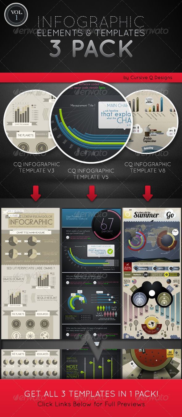 Infographic Elements and Templates 3 Pack Vol. 1 | Infographic ...