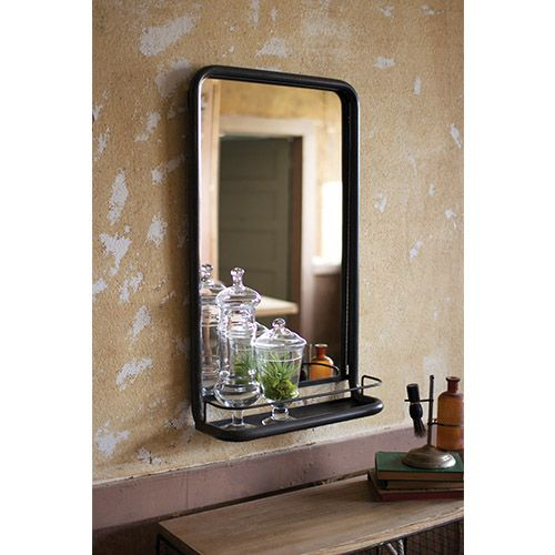 kalalou raw metal framed mirror with shelf