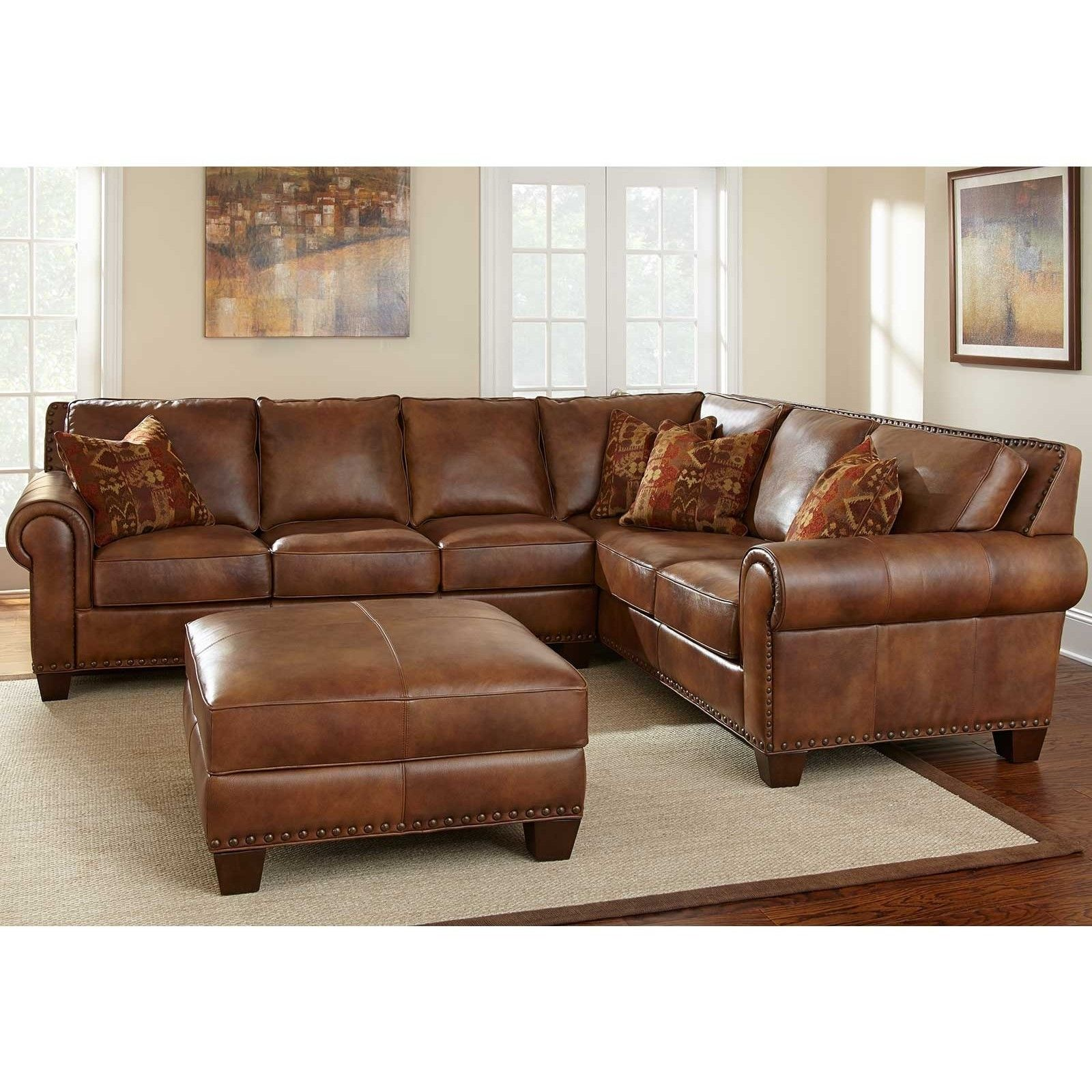 Soft Brown Leather Sectional Sofa