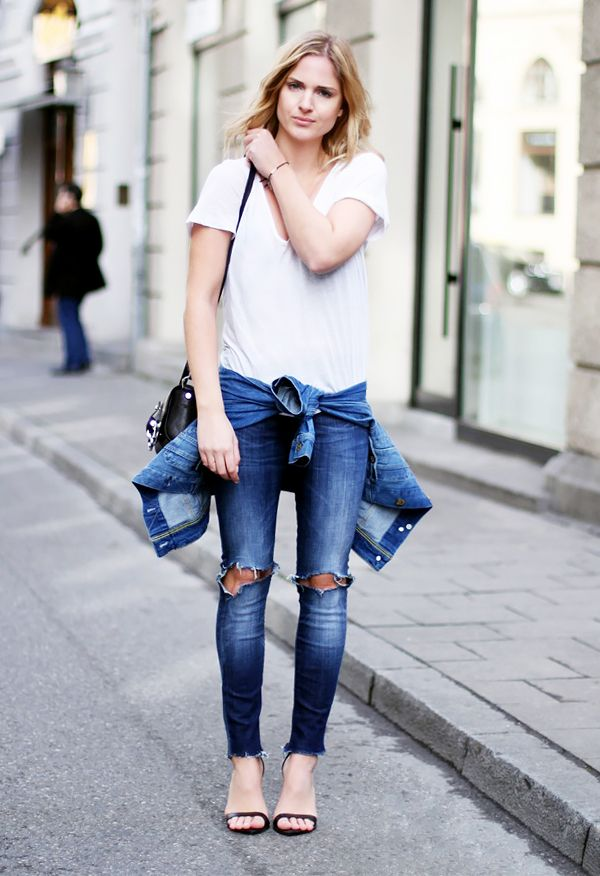 af21626436ae ... Style Chic Inspirations 2018. White V neck tucked into ripped skinny  jeans