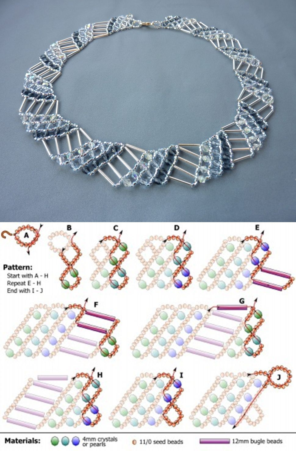 FREE beading pattern for necklace Diagonal Net | patrones abalorios ...