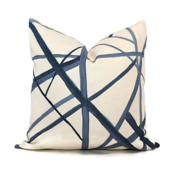 Kelly Wearstler Channels Pillow Blue Throw Pillows Blue Cushions Pillows