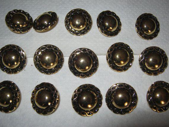 15 Stück Goldfarbene Jackenknöpfe mit ÖseMuster von Knopfshop