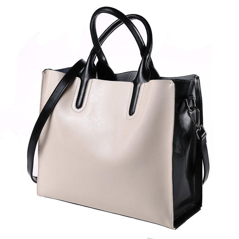 60607b9136 Fashion Black and White Handbags Women Shoulder Bags Genuine Leather Totes  Brand Designer Hand Bag for Ladies Casual Bolsa Mujer