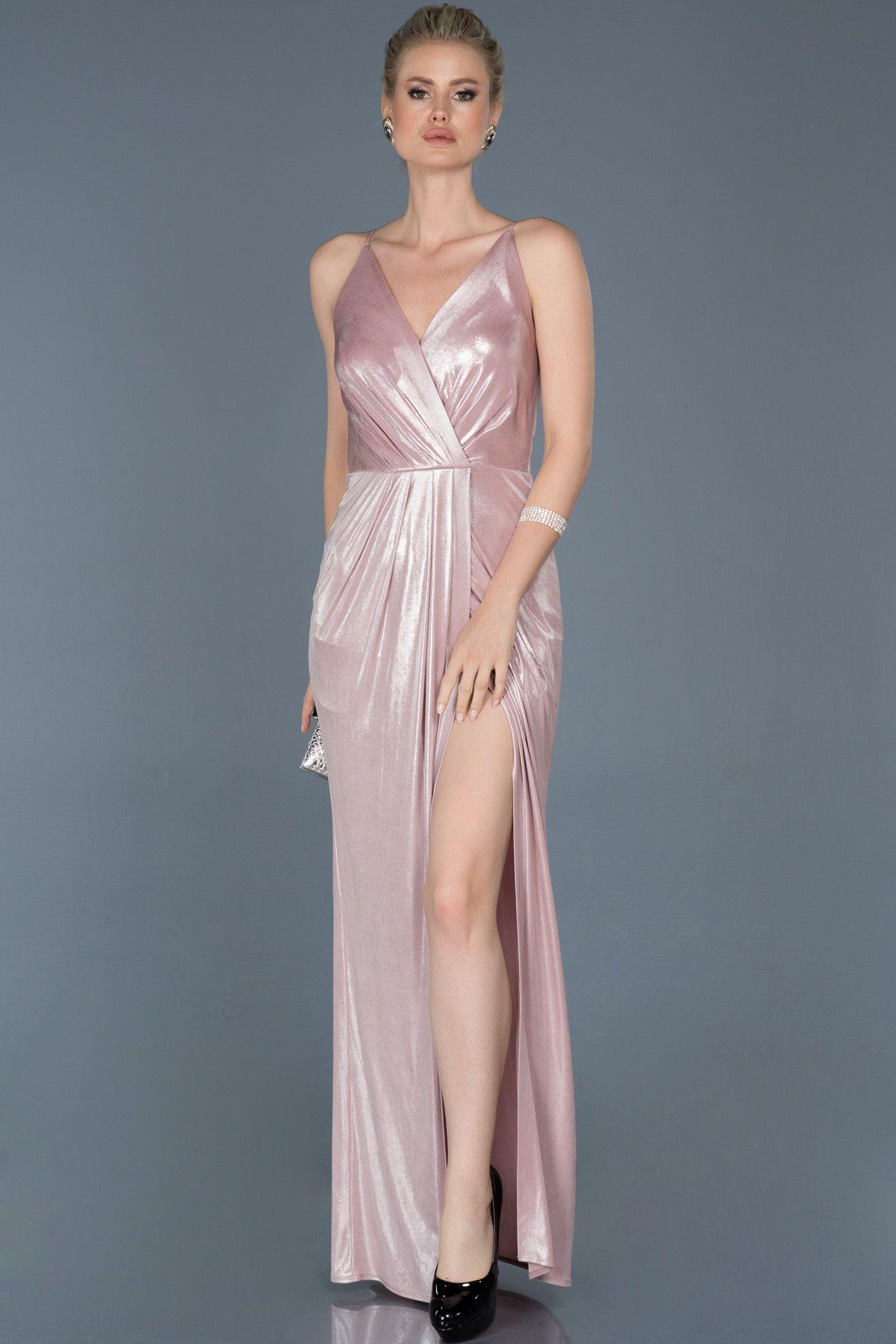 Pembe Uzun Bacak Dekolteli Saten Mezuniyet Elbisesi Abu857 2020 Elbise Modelleri Elbise The Dress