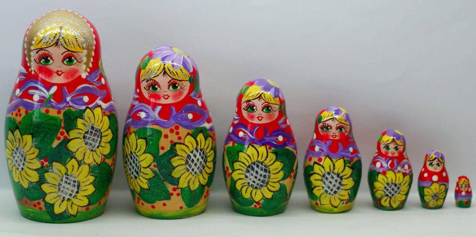 Doll toys images  Russian Nesting Dolls Toy Sunflower  Pcs Matryoshka  eBay