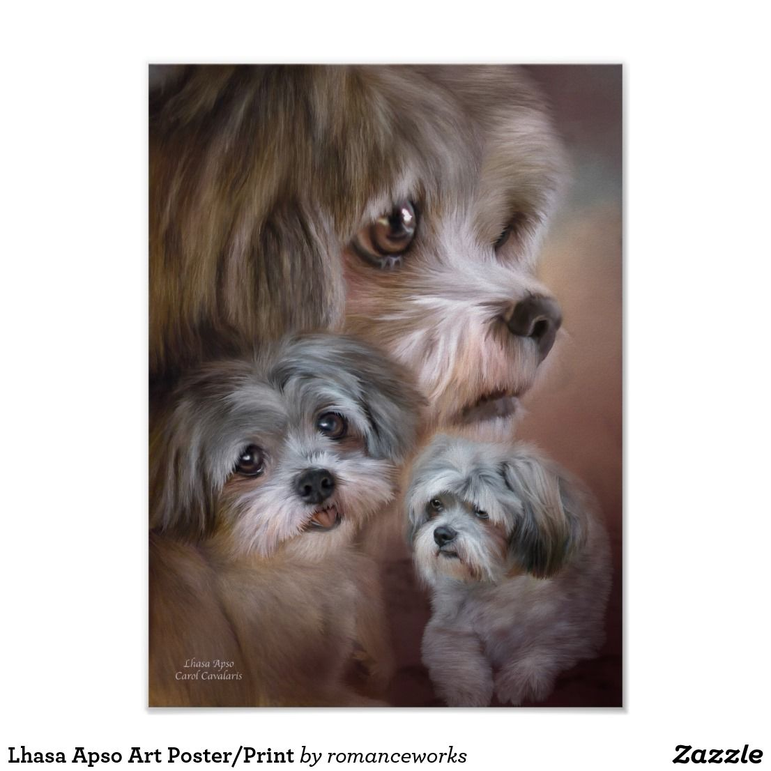 Lhasa Apso Art Poster/Print Poster now 50% off .. These are the cutest little dog. My mom had one ... Spunky  and he sure was hard to catch lived up to his name.