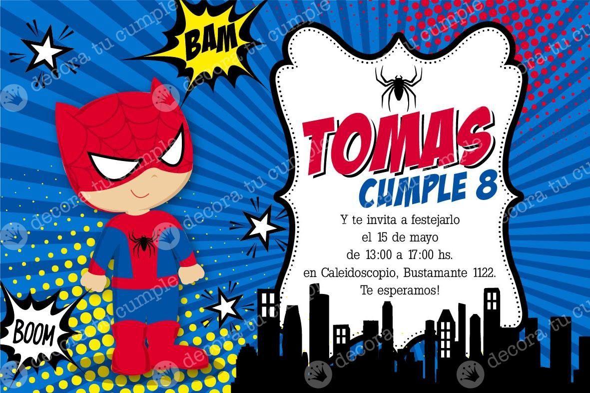 Kit Imprimible Spiderman Hombre Araa Cumpleaos Invitacin Tarjetas De Invitacion Cumpleaños Del