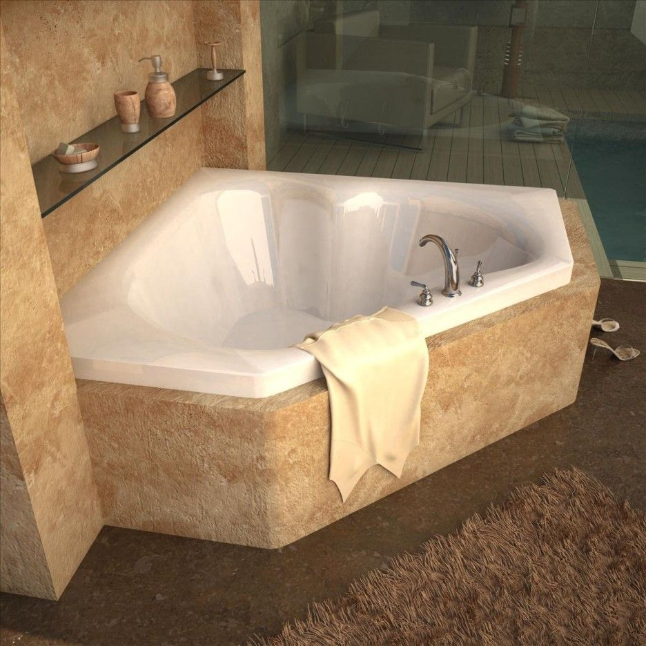 Bathroom. Corner Curving White Tub With Silver Steel Fauce Placed On ...