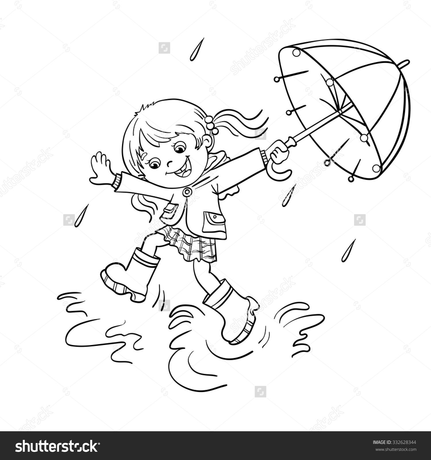 Winter painting pages - Playing In The Rain Coloring Pages Coloring Page Outline Of A Cartoon Joyful Girl Jumping Painting Templateswinter