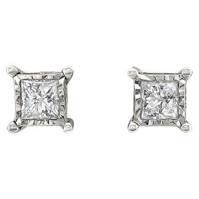 1 2 CT T W Princess cut Diamond Stud Illusion Set Earrings in