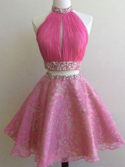 45785b2b0ff9 Cheap Fuchsia Homecoming Dresses, Short Homecoming Dresses, Short Fuchsia  Homecoming Dresses With Beaded/Beading Mini Halter Sale Online