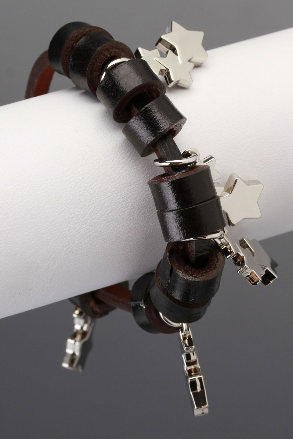 BE Simone Bracelet In Black -leather //silver charms