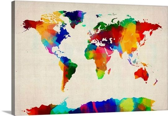 World Map Made Up Of Brightly Colored Paint Canvases And Craft - Colorful world map painting