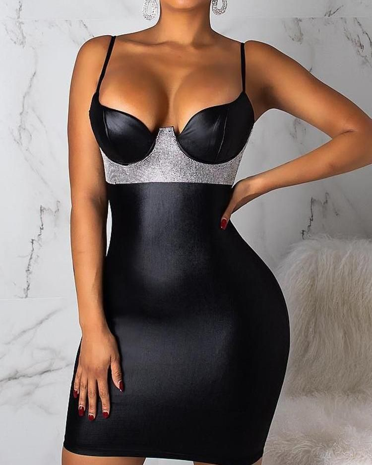 Spaghetti Strap Gem-Studded Bodycon Dress #croptopdress