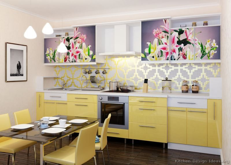 #Kitchen Of The Day: A Space Saving Design With Modern Yellow Cabinets And  Flower Photos Printed On The Upper Cabinet Doors. The Kitchen Includes Dark  Wood ...