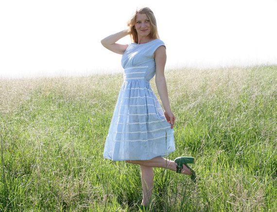 Vintage 50s 60s Blue GINGHAM Dress M Country Girl | Gingham dress ...