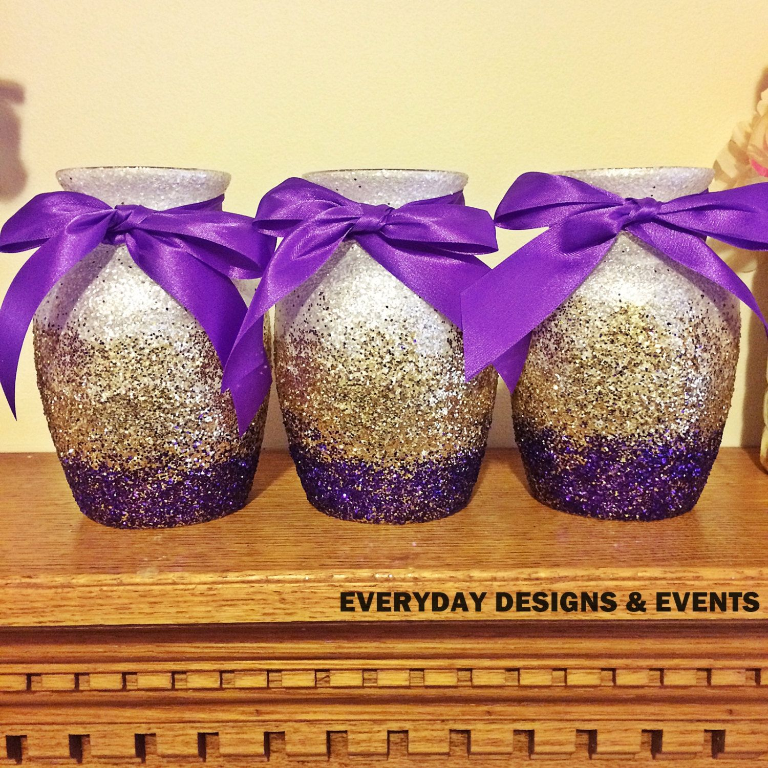 Ombre vases gold and purple baby shower