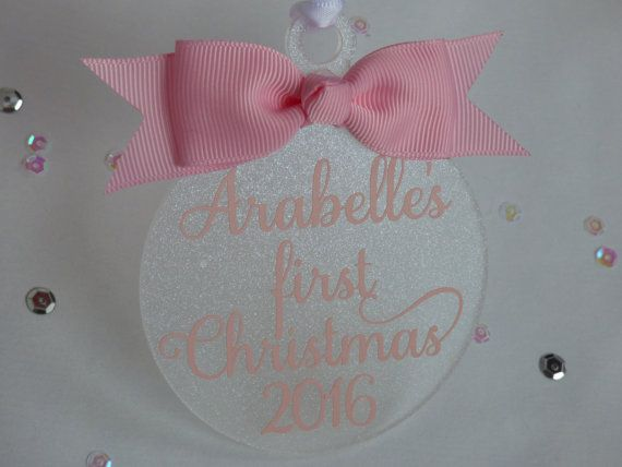 Hey, I found this really awesome Etsy listing at https://www.etsy.com/uk/listing/484080993/personalised-babys-first-christmas-2016
