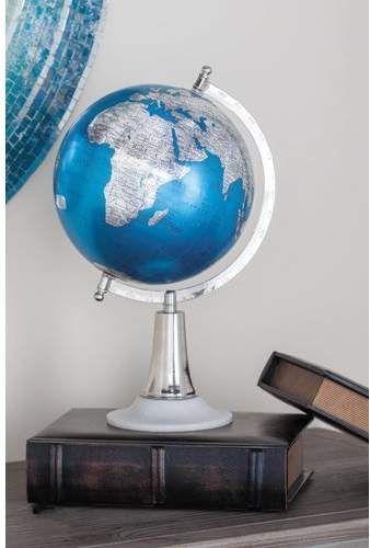 Topographical Globe Globe Decor Globe Blue Silver