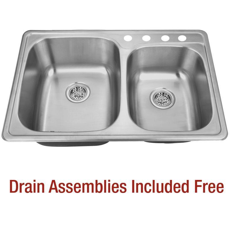 "Delacora DSS203322DI6040 33"" Double Basin Drop-In Stainless Steel Kitchen Sink w Stainless Steel Fixture Kitchen Sink Stainless Steel"