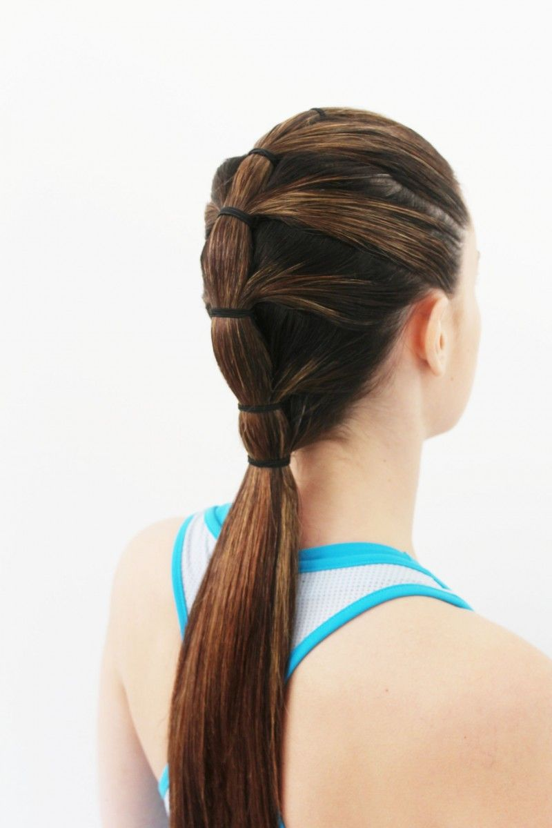 Gym Hair Tutorial The Tiered Ponytail Sporty hairstyles