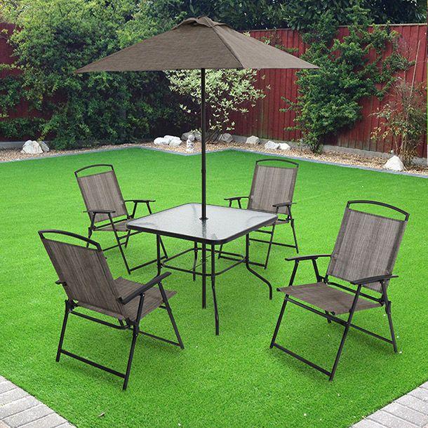 11 Mesa para jardin con sombrilla