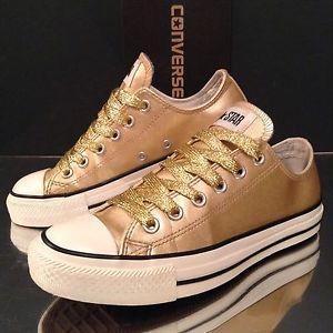 a2c1eebb3d3b Womens Converse All Star Low Sz 5 Gold Glitter Sparkle Patent Shoes Unisex  37.5