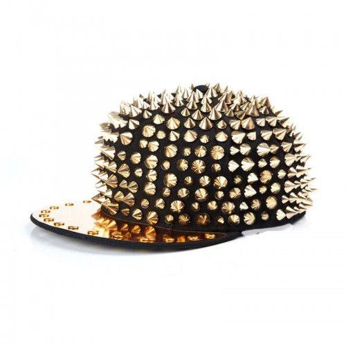 Casquette Punk hip-hop Gold spike studded hat noir black