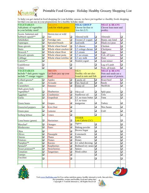 Holiday Grocery Shopping List   Free Printable Lists