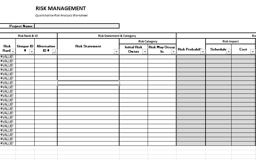 Risk Brainstorming Worksheet Download For Program Management Plan